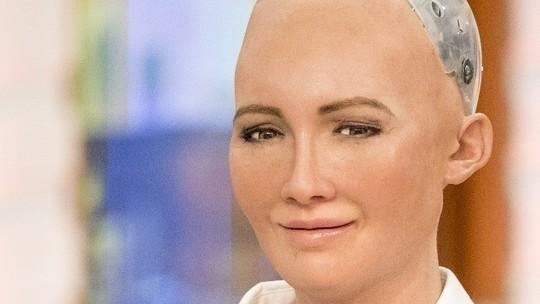 foto del mejor Robot humanoide Sophia que ha sido creado por la empresa Hanson Robotics. Ha aparecido en el hormiguero y es la robot que ha sido considerada como ciudadana de Arabia Saudi