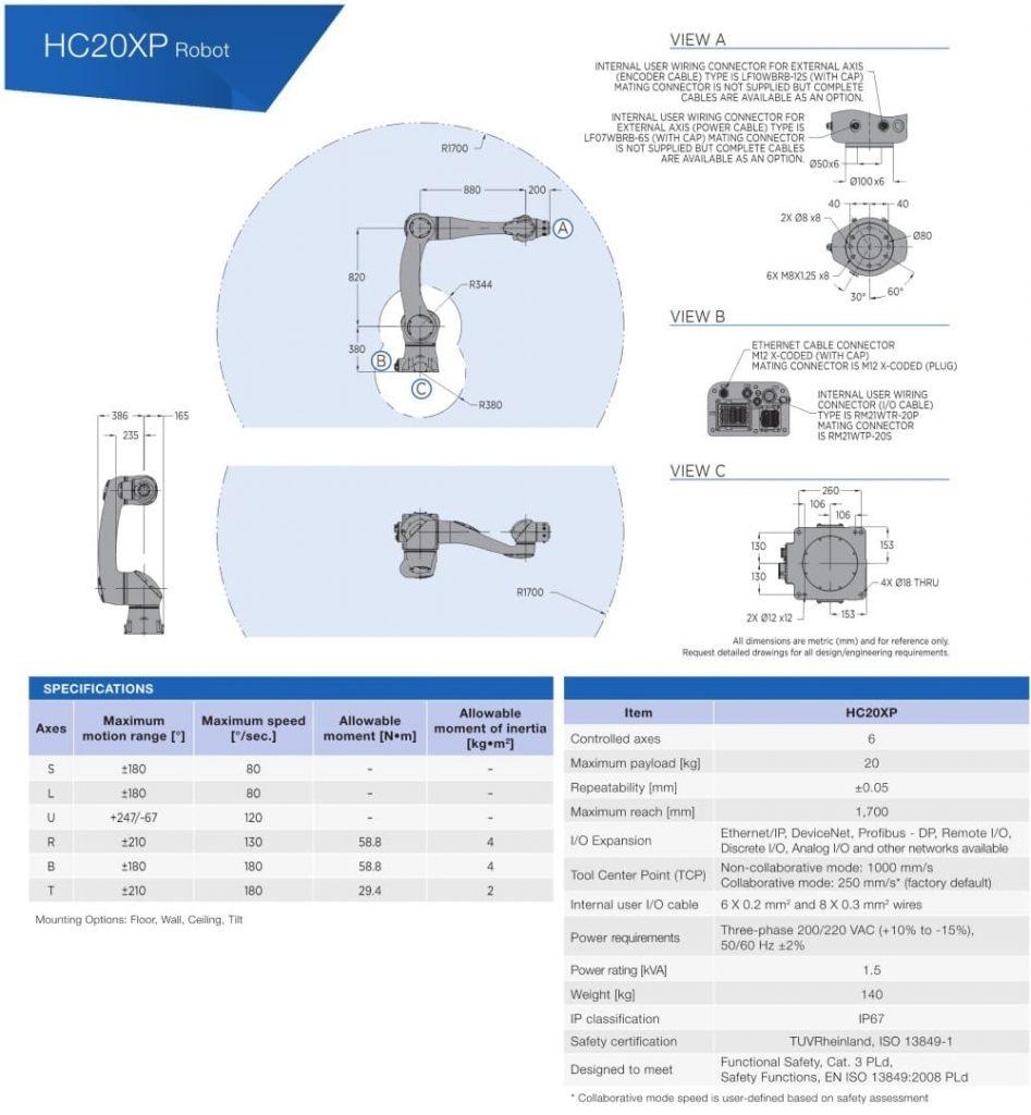 robot HC20 dimensiones y características