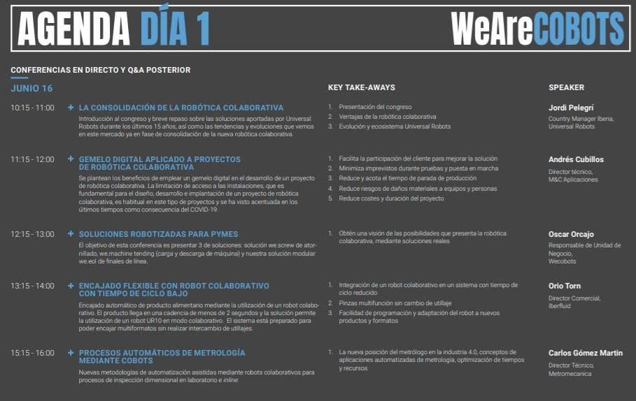 programación de agenda de conferencias WeAreCOBOTS día 1