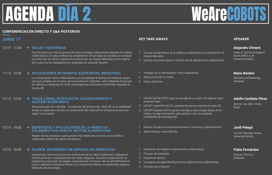programación de agenda de conferencias WeAreCOBOTS día 2