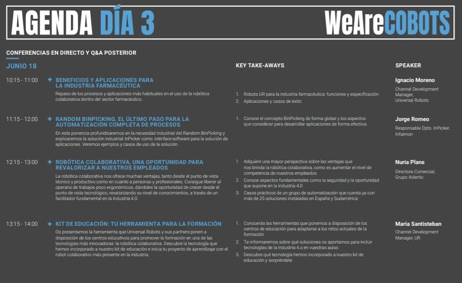 programación de agenda de conferencias WeAreCOBOTS día 3