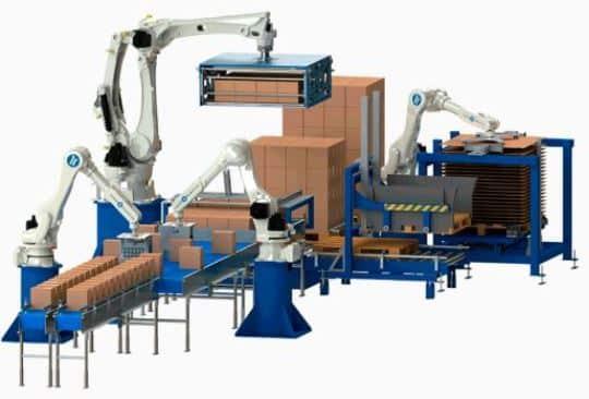 robot paletizador de botellas de aceite para automatizar el paletizado de cajas de aceite